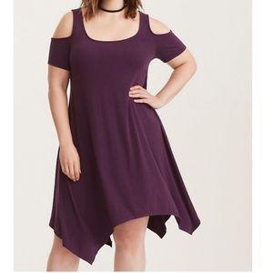 Torrid Purple Jersey Cold Shoulder Dress Size 3